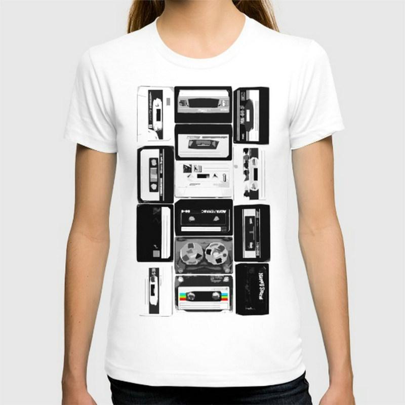 Music Cassette Tapes New Fashion women T-shirts Short Sleeve Cotton t shirts women's Clothing Wholesale Free Shipping(China (Mainland))