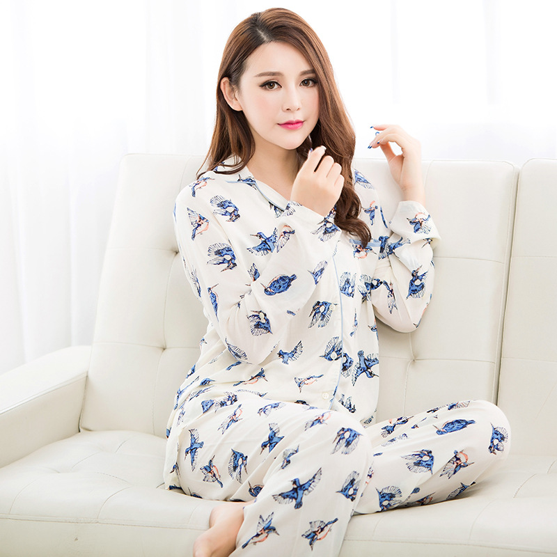 2015 Lovers' 100% women Cotton Sleepwear Pajamas set Long sleeve Bird print Nightwear Cute Minions sexy sleeping clothes women(China (Mainland))