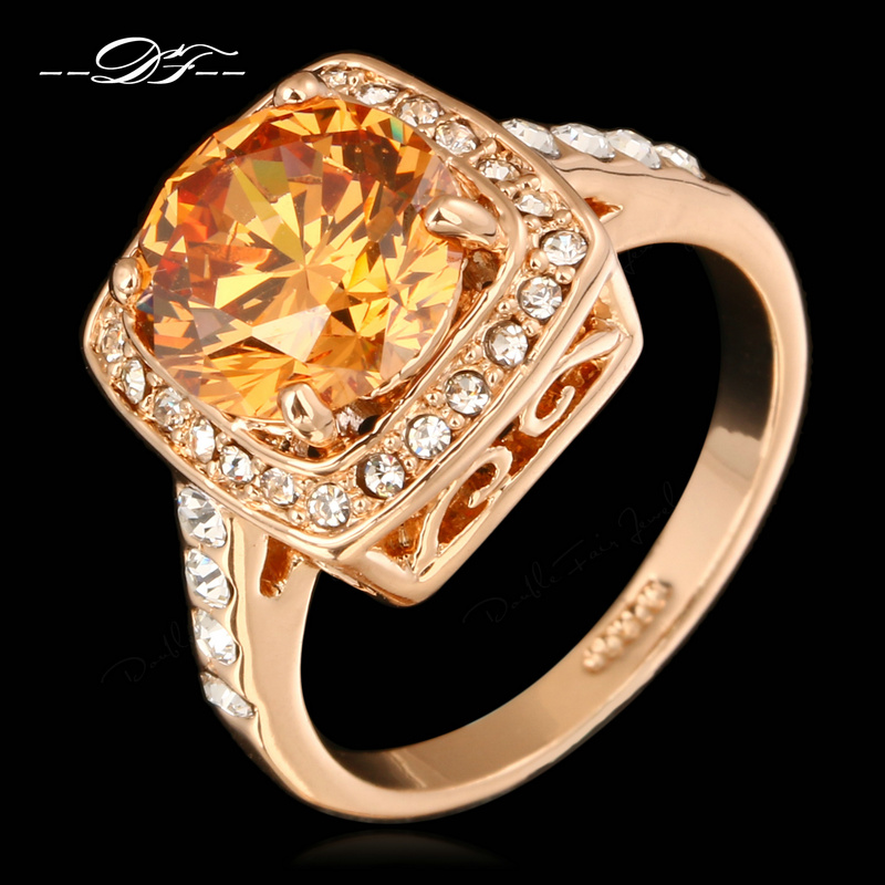 Big Crystal Framed Wedding Finger Ring For Womens 18K Rose Gold Plated Fashion Brand Imitation Gemstone Jewelry anel DWR057()