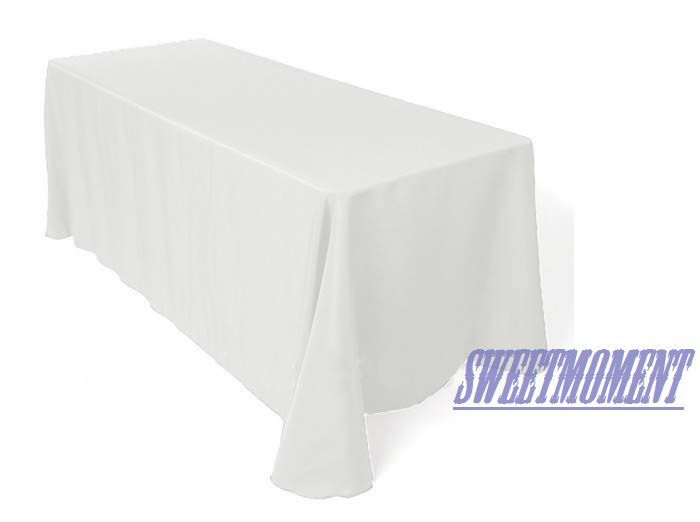 White Rectangular Polyester Table cloth Good Quality Tablecloth Banquet/wedding Sturdy Table fabric(China (Mainland))