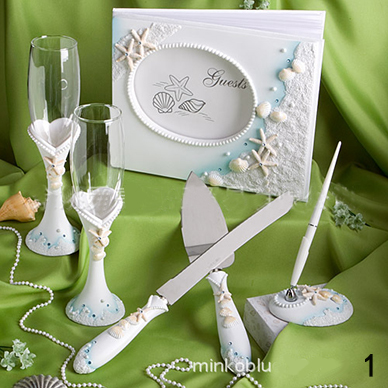 Cheap 4pcs set packing box Wedding Gift Set goblet signature guest book signing pen cake knife