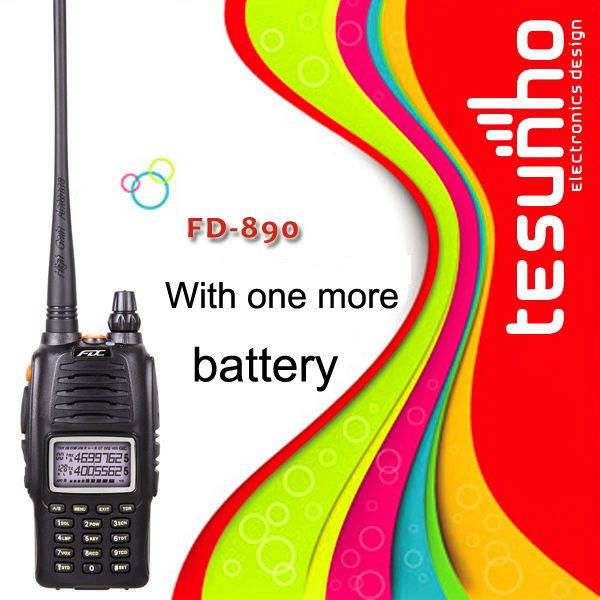FD-890 with one more battery dual band two way radio wide long hunting amateur wireless design walkie talkie portable radio(China (Mainland))