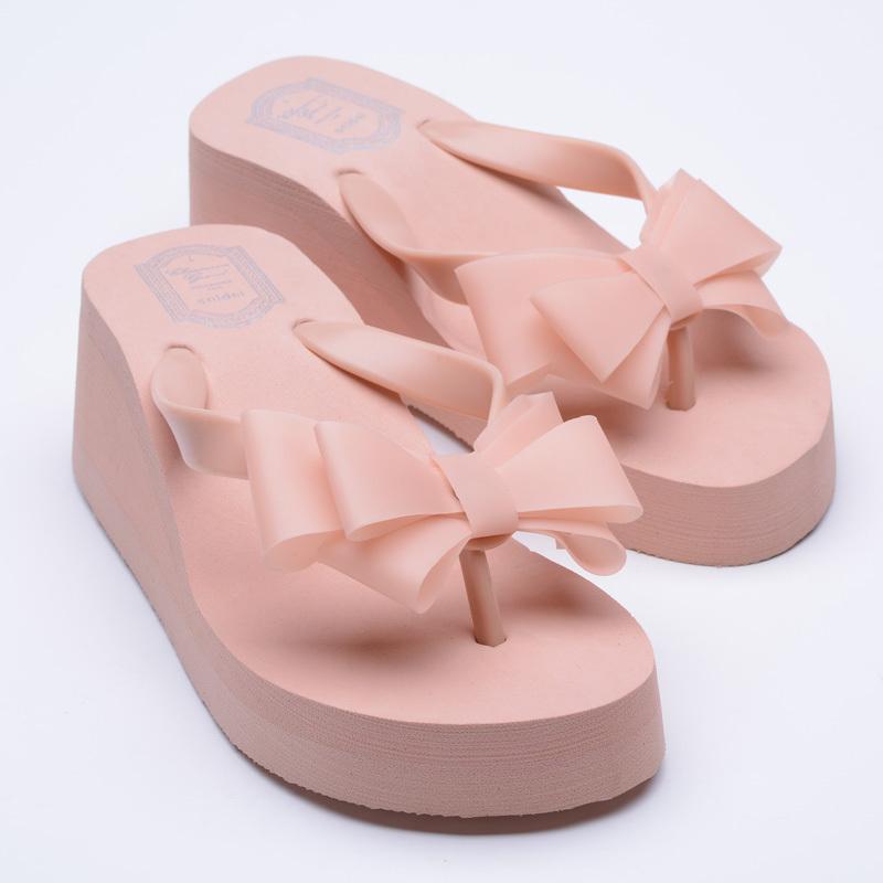 Summer Sweet Lady High-heel PVC Bow Flip Flops Slip-on Slippers Beach Platform Wedges Women Sandals 2015<br><br>Aliexpress