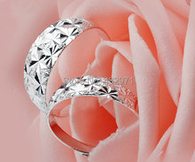 Top quality the best 990 sterling silver wedding couple ring for women men lover ,adjustable engagement ring,bling, free engrave(China (Mainland))