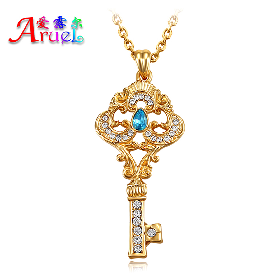 18k gold plated fashion girls key necklace for women blue austrian crystal rhinestone friendship charm necklaces & pendants gift(China (Mainland))