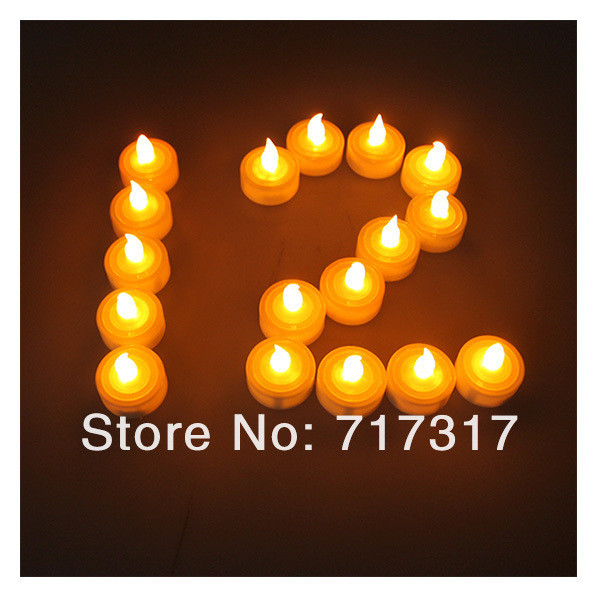 Wedding decoration 50pcs/lot Flameless Candle Led Long Life Wedding Holiday Party Battery Operated AMBER LED Tealight Candles(China (Mainland))