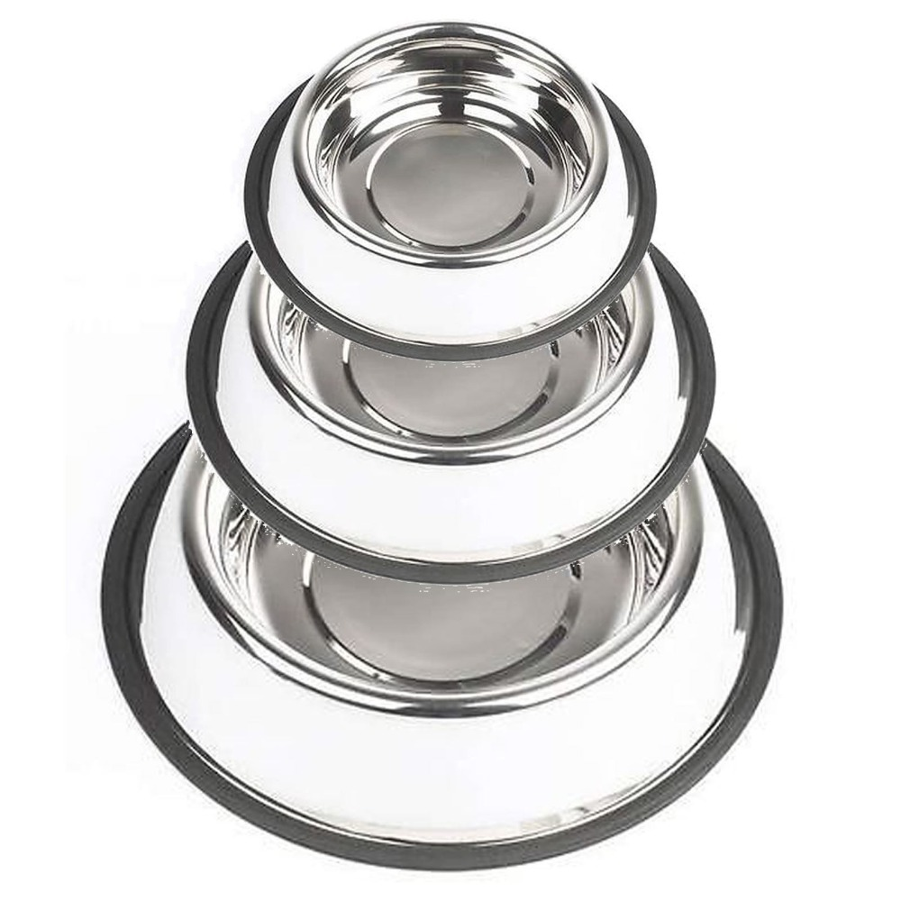 Metal Stainless Steel Cat Dog Drink Bowl Polished Durable Non Slip Rubber Grip(China (Mainland))