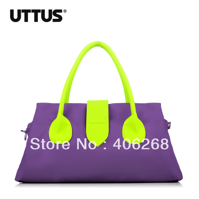 free shipping  Uttus  fashiin nylon  neon color block  dual-use bag ladies' handbag  shoulder bag