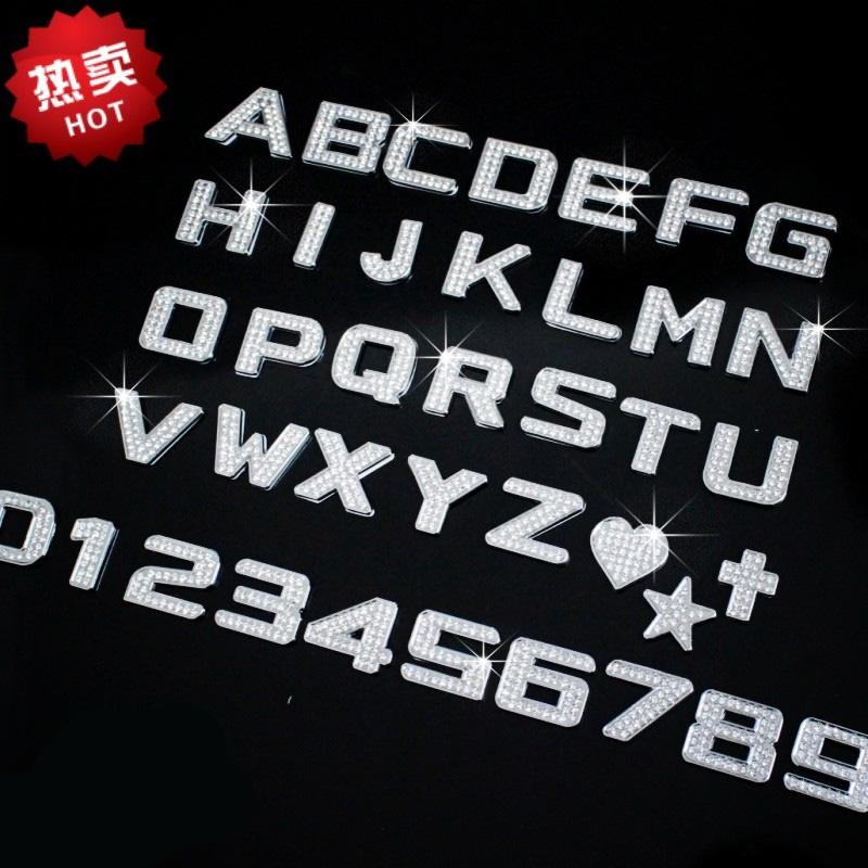 1Pcs Car sticker diamond letter 3d stereo car stickers diamond car stickers rhinestone metal letter diy crystal(China (Mainland))