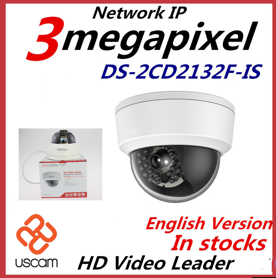 2015 New English Version IP Camera 3Mp Firmware is V5.3.0 Multi Language Mini Dome Hikvision IP Camera POE camera DS-2CD2132F-IS<br><br>Aliexpress