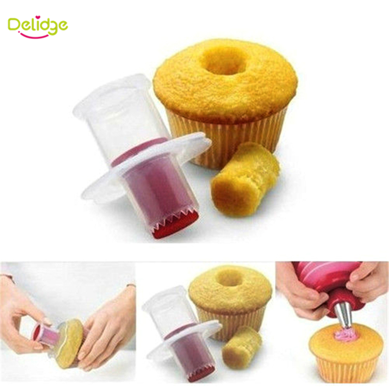 1Pcs Cupcake Corer Tools Muffin Cake Pastry Corer Model Plunger Cutter Decorating Plastic Cake Digging Holes Device(China (Mainland))
