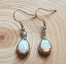 Elegant White Fire Opal Drop Earrings for Lady(China (Mainland))