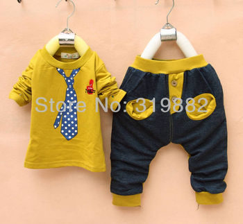 Retail, Hot Sale100% Cotton Fashion Clothing For Children Baby Boy Suit Fake Tie Set Long Sleeve , Sport Suit,Free Shipping
