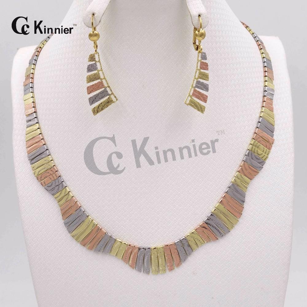 Ювелирные Изделия Устанавливает три цвета высокого качества Африканская Дубай Женщины Crystal Ожерелье 18 К позолоченные Свадебные украшения Африканских