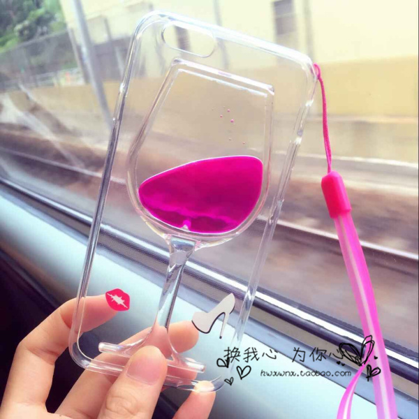 For Apple iPhone 6 4.7'' 3D Sexy Liquid Red Wine Goblet Clear Hard Case Cover With Holder Free Shipping(China (Mainland))