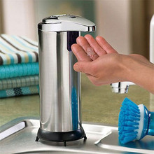280ml Stainless Steel Hands Free Automatic Ir Sensor Touchless Hands Free Automatic Liquid Soap Dispenser For Kitchen Home MS138(China (Mainland))