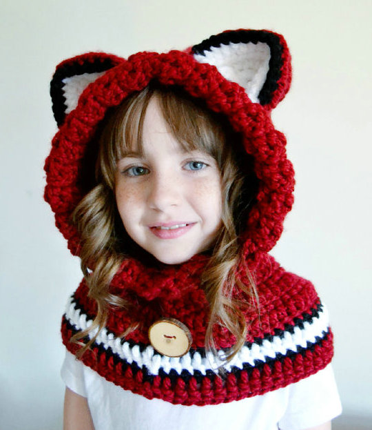 children's Fox Hat - Fox Hoodie capelet - girls Fox Cowl - Animal Hat - Hooded Scarf - Crochet Hoodie Shawl -Chunky Crochet Hat(China (Mainland))