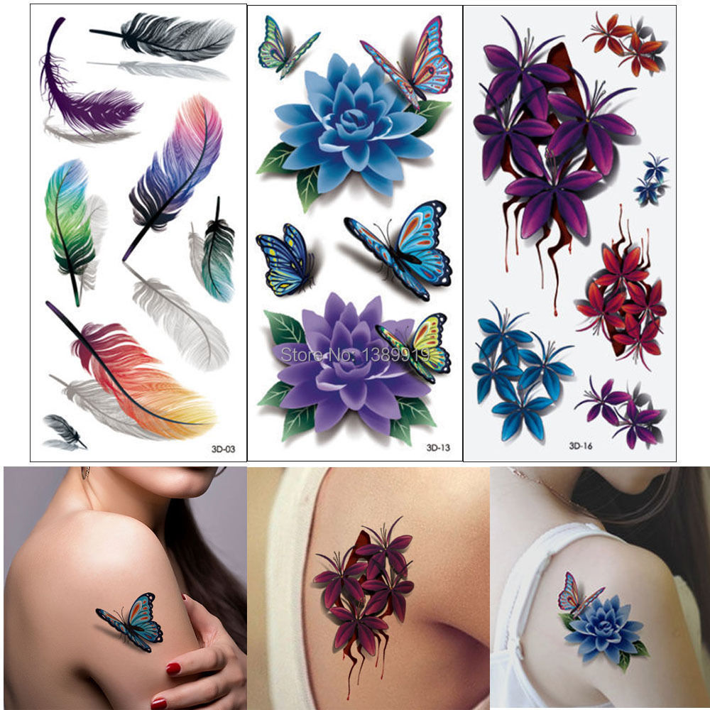 product 3D Colorful Waterproof Body Lip Art Sleeve DIY Stickers Hot-stamping Silve Flower Butterfly Feather Wing