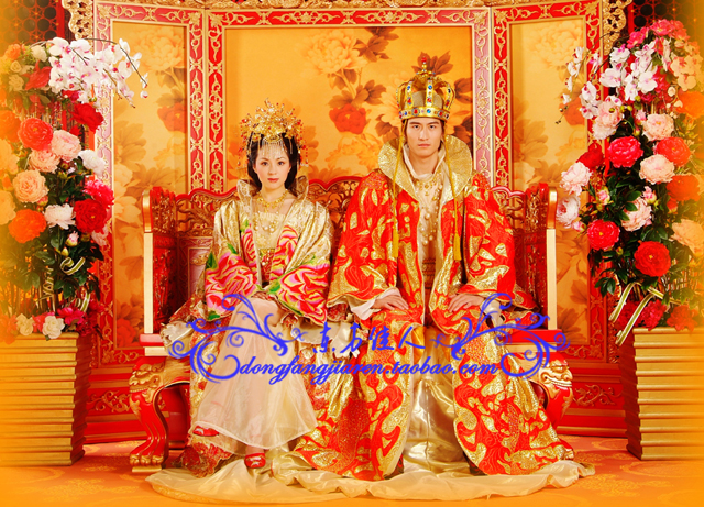 Ancient Chinese Wedding Costumes Thematic Costumes Extravagent Photo House Exhibition Costumes Curse of the Golden Flower(China (Mainland))