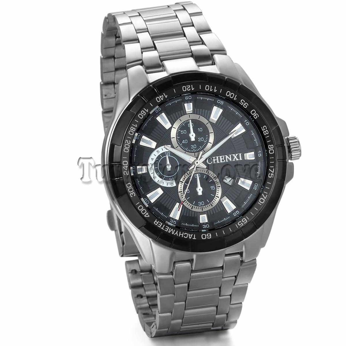 Fashion Auto Date Display Silver Stainless Full Steel Strap Relogio Male Clock Men Wristwatch Quartz Sport Watch(China (Mainland))