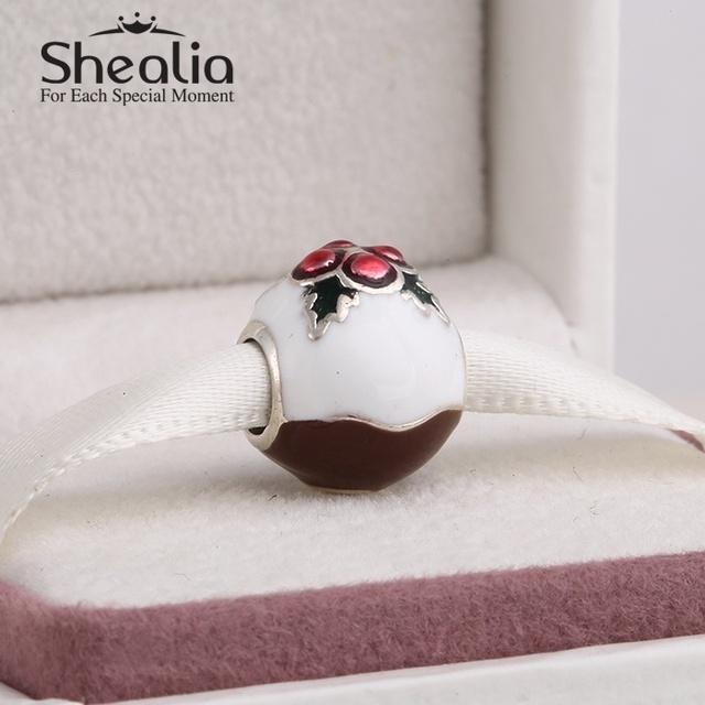 Shealia стерлингового серебра 925 пробы с смешанные эмаль рождество-пудинг подвески для женщин браслеты сделай сам ювелирное лучший рождественский подарок