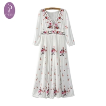 NYMPH 2016 Women Summer Dress Retro Floral Embroidered Vintage White Hippie Boho Dresses Tunic Long Beach Maxi Dress Vestidos(China (Mainland))