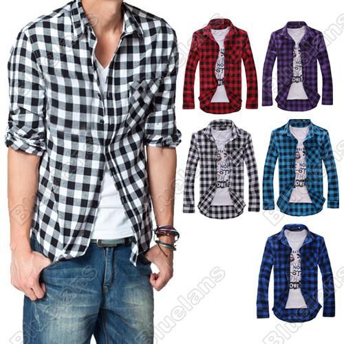 New Men's Slim Fit Casual & Dress Plaid Check Shirt Korean Style Blue Red Black 30986 02RG(China (Mainland))