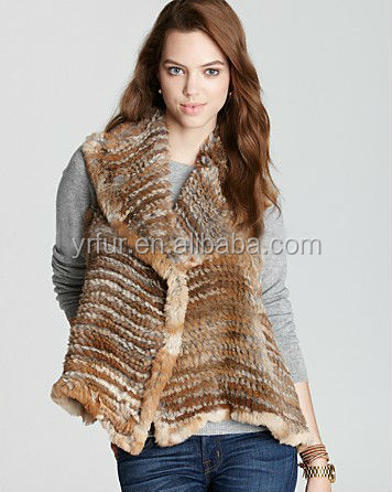 Free Shipping Sale Stylish YR-850 Top Quality Rabbit Knitted Fur Lined Vest with Big Collar~Wholesale~Retail~Factory Direct sale(China (Mainland))