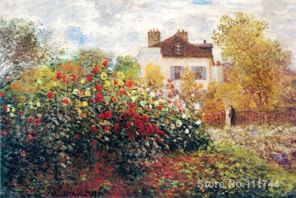 The Artists Garden,Claude Monet paintings for sale,Landscape art,Handmade,High quality(China (Mainland))