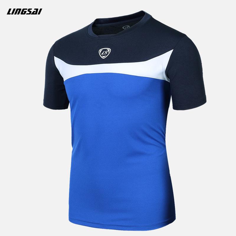 LINGSAI Summer Style T Shirt New Soccer Jersey Running Quick Dry Slim Fit T-shirts Short-Sleeve top Sports t shirt For Men XXXL(China (Mainland))
