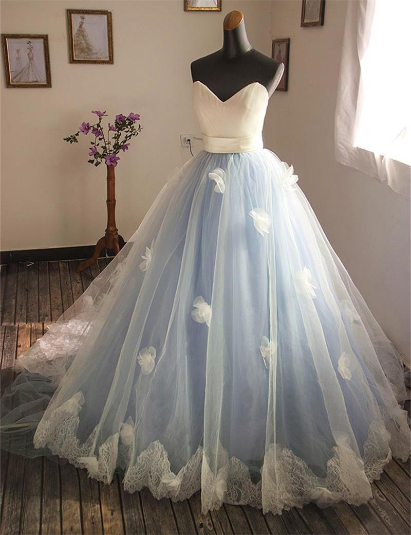 2016 beautiful blue wedding dress v neck sashes appliques for Blue sash for wedding dress