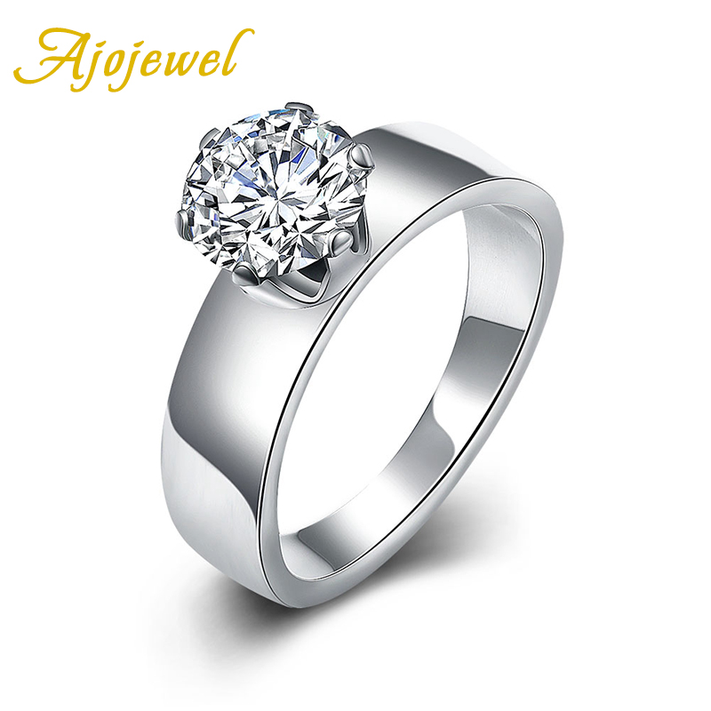 583 Ajojewel Classical Wedding Jewelry Elegant Prong Setting White Zirconia Stainless Steel Rings For Women(China (Mainland))