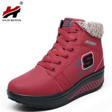 Brand New 2017 Mujeres de Invierno Zapatos de Tacón de Cuña Elevados en forma de bota zapatos de Moda Casual Zapatos de Plataforma de Oscilación Caliente Tobillo de La Manera Botas para la nieve(China (Mainland))