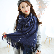 Fantastic Fashion Women's Large Tartan Scarf Shawl Stole Plaid Woollen Cloth Tassels Scarf Long Casual Warm Cashmere Shawl