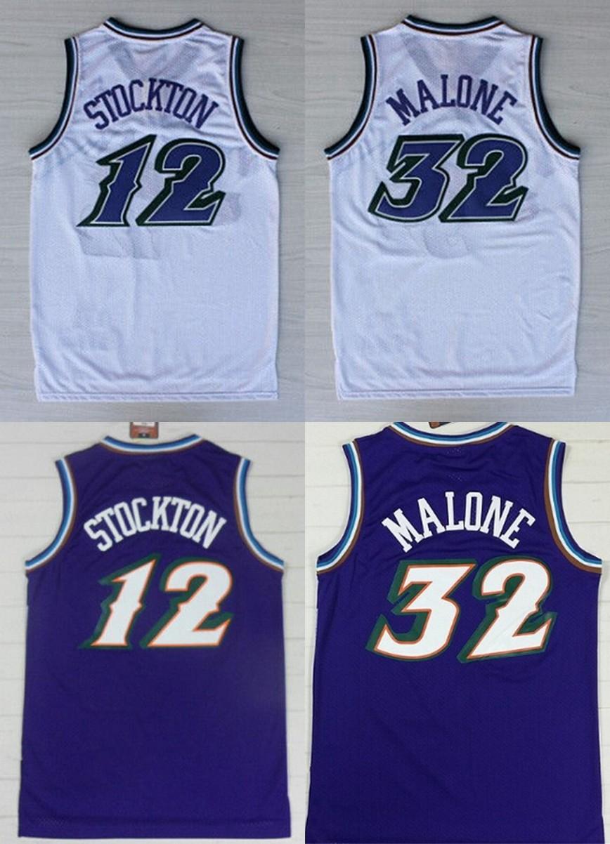 2016 Purple White Color throwback Basketball Jersey Embroidery Logos#32 Karl Malone jersey 12 John Stockton(China (Mainland))