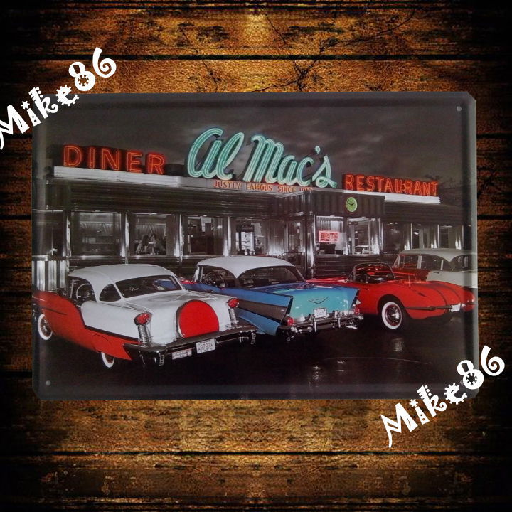 [ Mike86 ] Restaurant DINNER CAR Metal Painting Vintage Wall Decor Cafe Tin Sign Art A-600 Mix Order 20*30 CM(China (Mainland))
