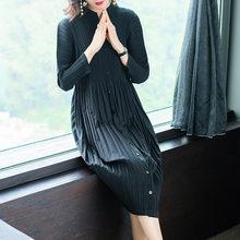 LANMREM 2019, высокое качество, новая плиссированная одежда для женщин, длинный рукав, стоячий воротник, двойные карманы, свободное платье, Vestido ...(China)