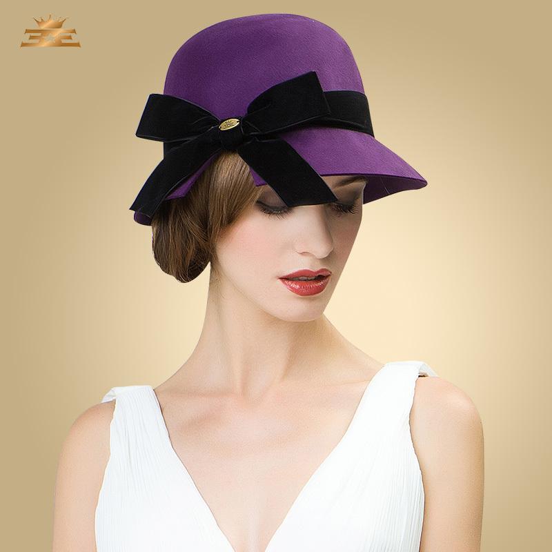 Winter Spring 100% Australian wool Elegance Bowknot Wool Felt Hat Ladies Fedora Womens Trilby Caps bucket hat for women female(China (Mainland))