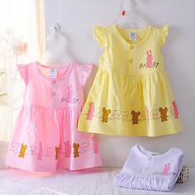 Baby Dresses Girls Infant Clothing New Kids Baby Girl Dress Cute Rabbit Children Dress Baby Clothes Girls Dress,Vestidos Infanti(China (Mainland))