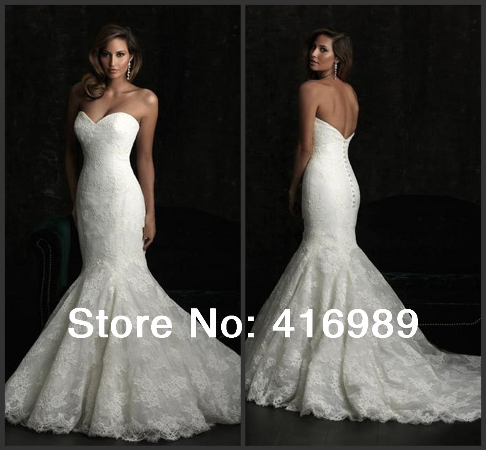 2014 hot sale popular trumpet lace luxury wedding dresses for Wedding dress for sale used