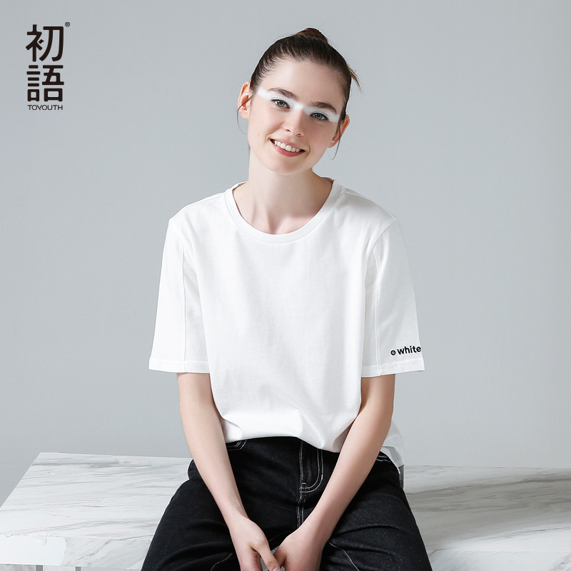 Toyouth 2017 New Arrival Women Summer T-shirt Casual Loose O-Neck Letter Embroidery Shirt Female Cotton Base Top