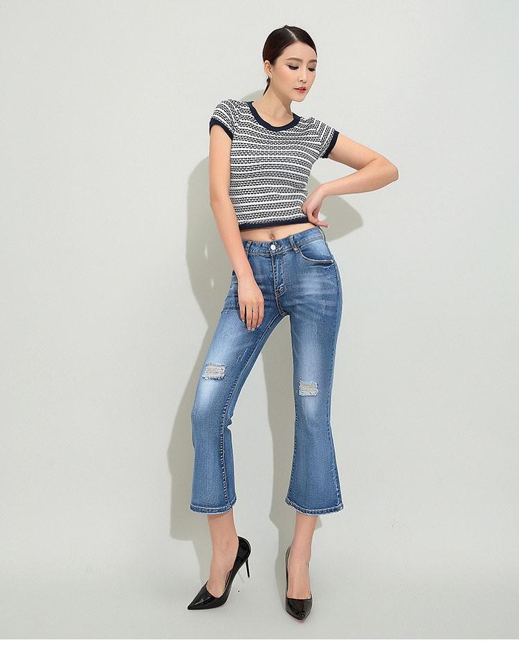 Скидки на Новая мода 2016 лето микро клеш широкие брюки ноги середине талии молния летать голеностопного длина flare брюки женщины джинсы D24