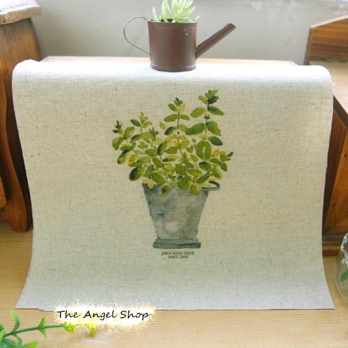 Акварель растения - 3 шт. ассорти ZAKKA рука-окрашенная хлопок белье печатных , ткани для DIY швейные лоскутное декор 20 x 20 см