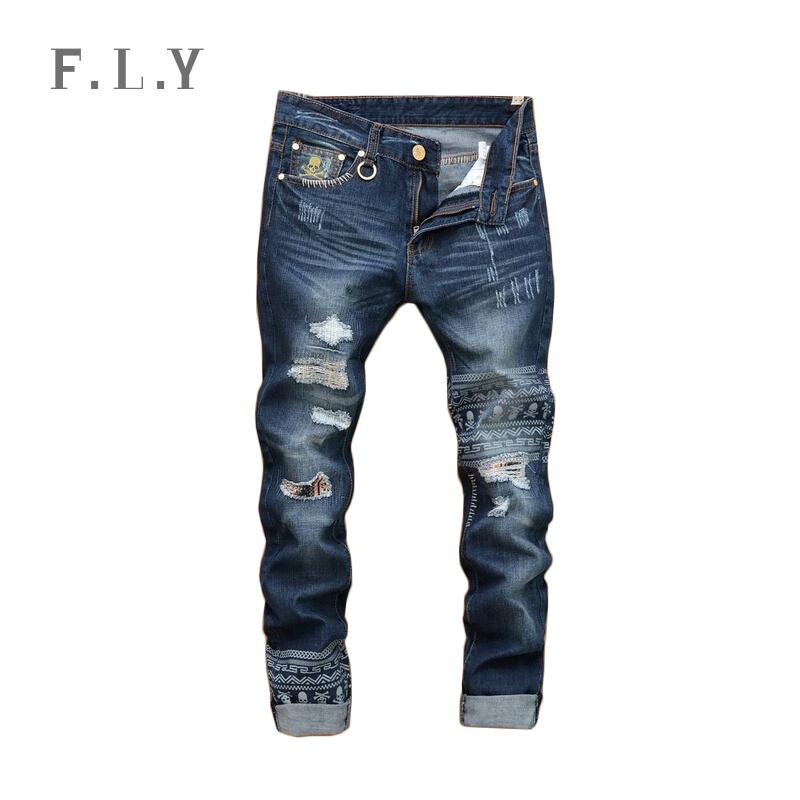 HOT new fashion brand 2015 denim pants streetwear jeans Straight Vintage Broken Hole Patch Skulls Trousers plus size MYA0013(China (Mainland))