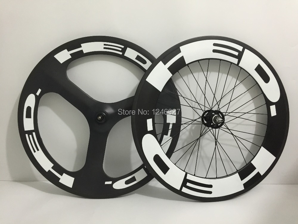 Newest Mix wheelset front 3 spoke rear 88mm fixed gear wheel carbon road bike(China (Mainland))