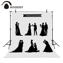 Allenjoy Photographic background Wedding Love Fashion Dance Silhouette Bride Couple Black Marriage silhouettes Wedding dress(China (Mainland))