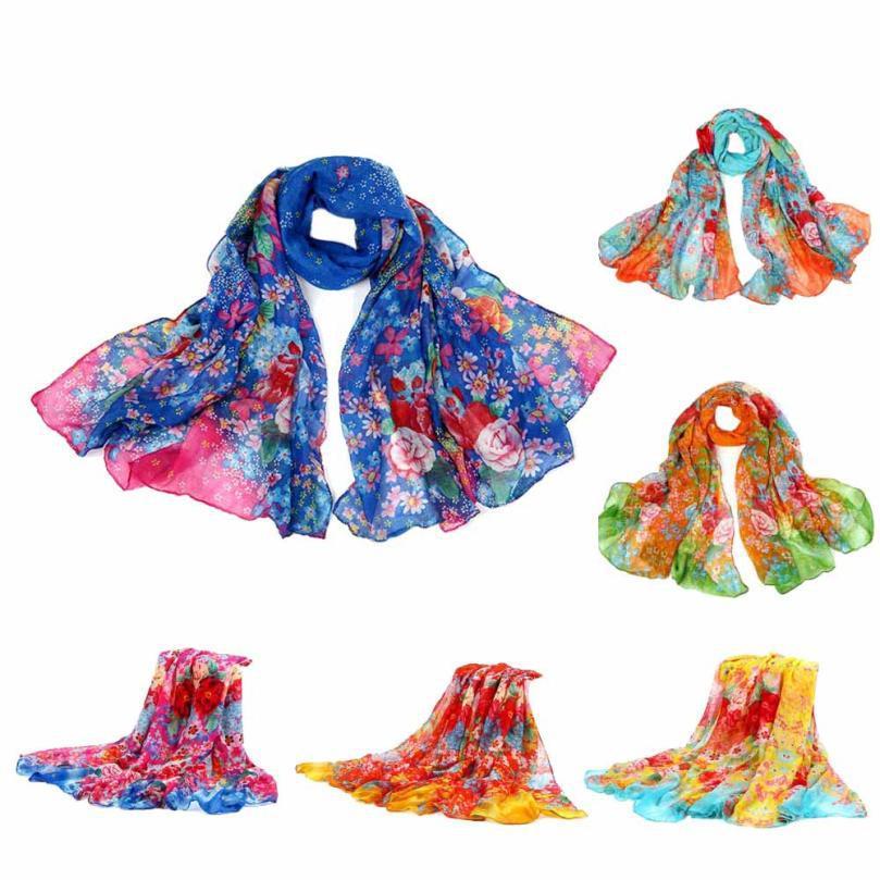 Jimshop 2016 fashion style gardens floral scarf women winter warm long shawl spring voile pashmina infinity scarves - ShenZhen jimshop store