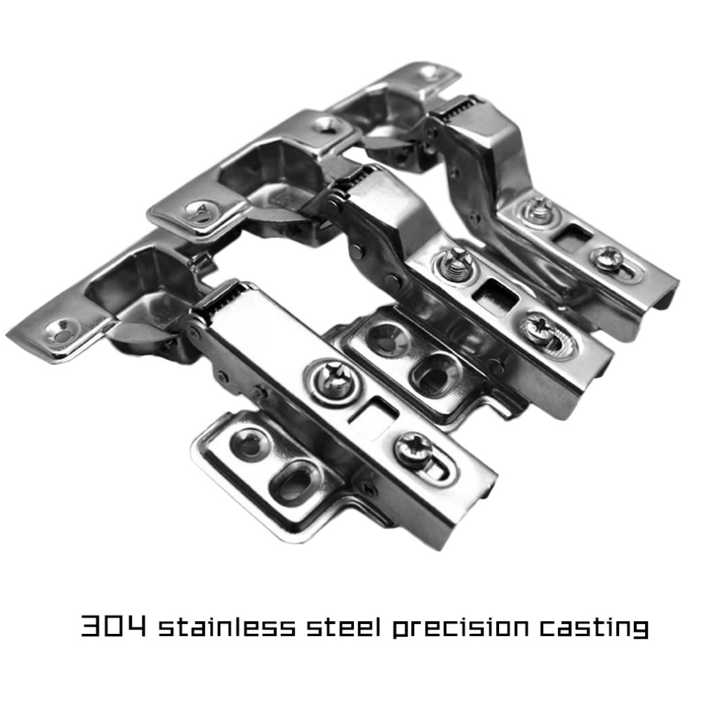 2017 High Quality 2Pcs Stainless Steel Hydraulic Hinge Damper Buffer Cabinet Cupboard Door Hinges Soft Close Furniture Hardware(China (Mainland))