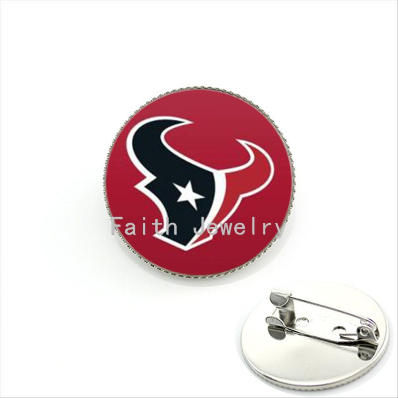New fashion red abstract art animal head photo jewelry case for Houston Texans team logo brooches pop NFL team brooch pins NF119(China (Mainland))