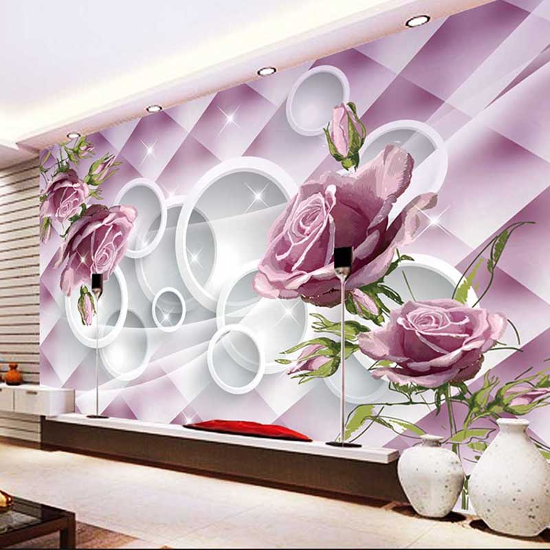 Photo Customize Size 3d Rose Flowers Mural Wallpaper Living Room Tv Background Wall Covering